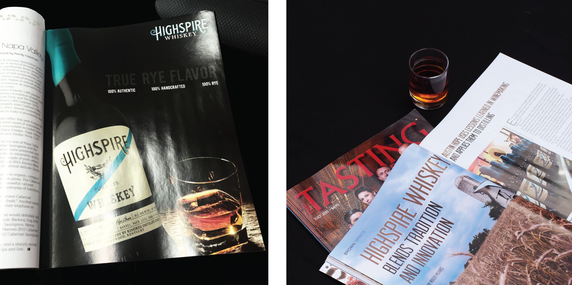 Amarie Design Co. Highspire Whiskey Magazine Layout Design for Tasting Panel Magazine